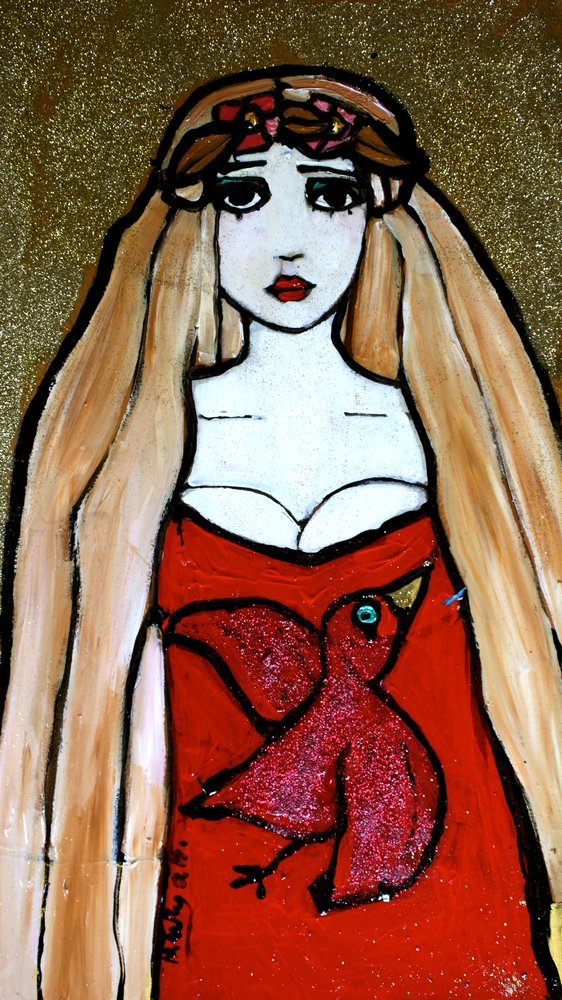 A painting of a pale girl in a dress with a red bird. by Harriet Whyatt.