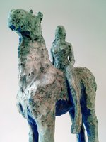 'Wish Horse and 'Lavenders Blue' are part of a series of newly made ceramic horses with young women riding them.