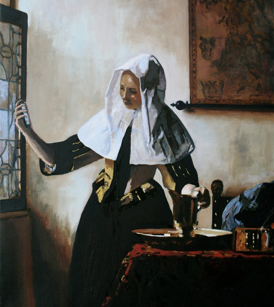 Based on Vermeer's painting entitled Young Woman with a Water Pitcher painted in 1665. by Tom White.