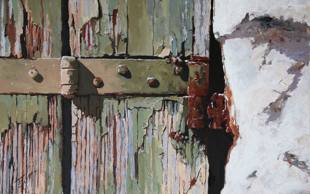 A painting of cracked paint on a wodden door in Venice. by Tom White.