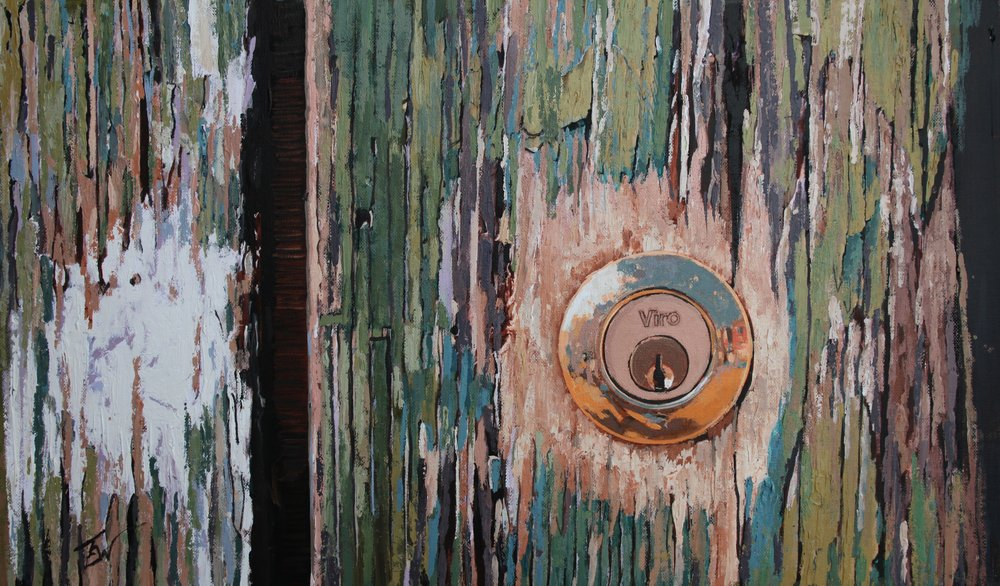 A painting of cracked paint and a keyhole on a door in Venice. by Tom White.