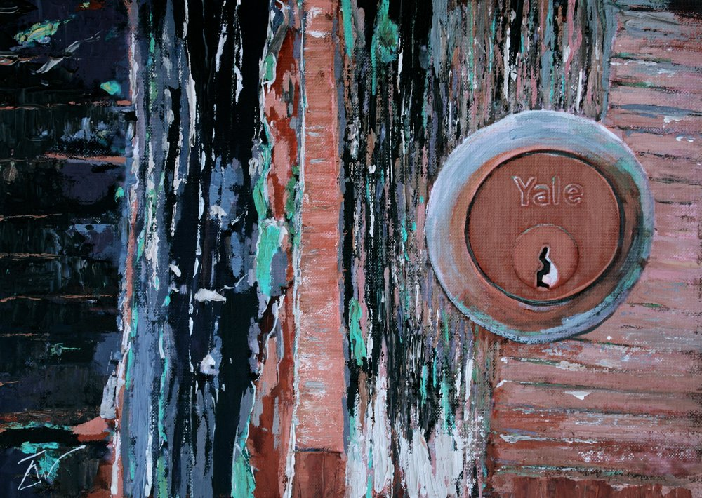 A painting of a Yale lock in a door in Venice. by Tom White.