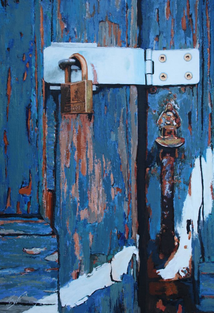 A painting of a new padlock and hasp on an old door in Venice. by Tom White.