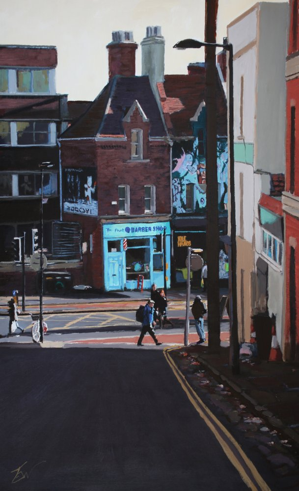 the barber shop on Stokes Croft from Thomas Street, Bristol. by Tom White.